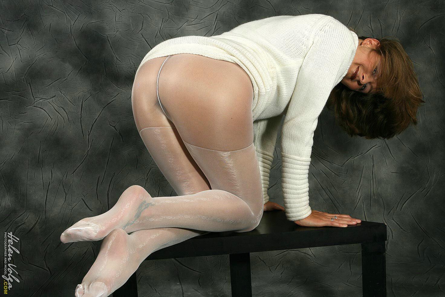 Russian girl models pantyhose